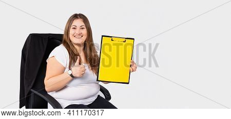 Banner, Long Format. Fat Obese Woman Gesturing Thumb Up, Holding Empty Clipboard With Illuminating C