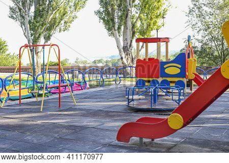 Colorful Playground Fun Red Day Ice Set Joy Kid Cold Baby Park Blue Play Game Slide Green Place Colo