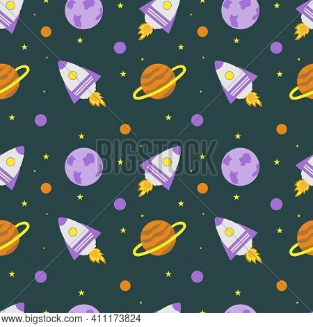 Space Rocket And Planets With Stars On A Blue Background. Space Exploration. Travel To Space. Seamle