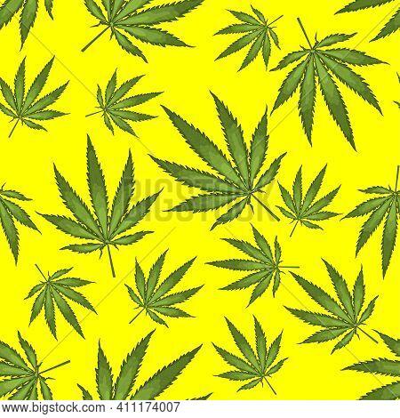 Seamless Pattern With Realistic Leaves Of Hemp, Marijuana, Hashish On Yellow Background. Marijuana L