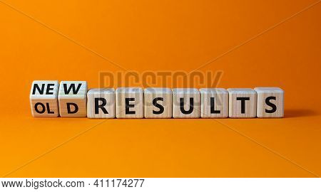 New Vs Old Results Symbol. Turned Wooden Cubes And Changed Words 'old Results' To 'new Results'. Bea