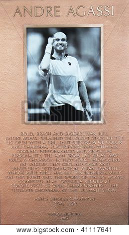 Andre Agassi plaque at US Open Court of Champions