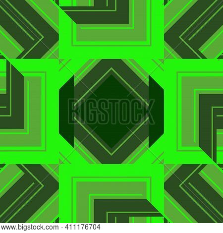 Seamless Abstract Pattern Of Irregular Squares In Green And Dark Green Tones For Prints In Techno St