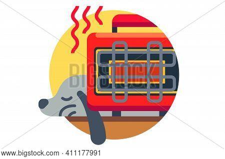 Dog Pet Warms Up Near Heater Vector