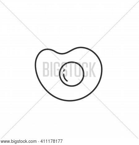 Fried Egg Black Line Icon On White Background