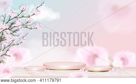 Podium Display With Spring Apple Blossom On Blue And Pink Pastel Sky Background,vector Realistic 3d