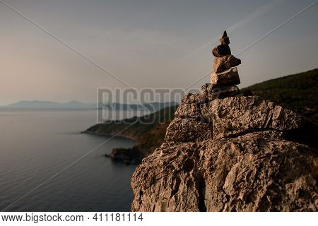 Magnificent View On Cairn Marking Hiking Trail Of Lycian Way In Turkey