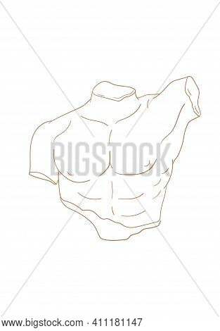 Vector Isolated Icon Antique Sculpture. Antique Greek Statue Body. Linear Icon Greek Male Torso, Mal