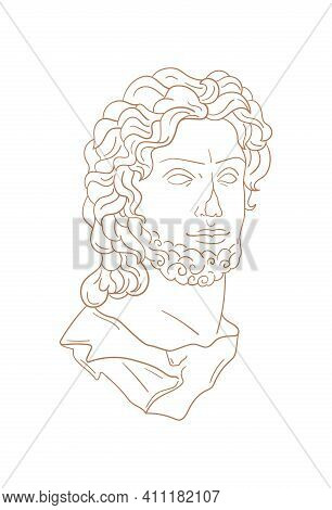 Vector Isolated Icon Antique Sculpture. Antique Greek Statue Head. Contemporary Minimal Shapes For L