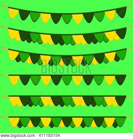 Irish Holiday St Patrick Day, Big Set From Flags On Rope. Pattern St Patrick Day Consisting Of Many