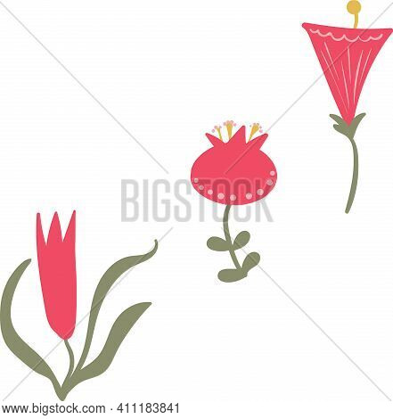 Set Of Three Simple Bright Pink Flowers Vector Illustration. Beutiful Chunky Flat Style Blooms For S
