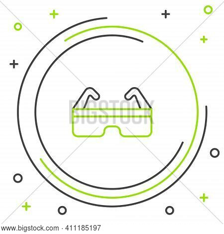 Line Safety Goggle Glasses Icon Isolated On White Background. Colorful Outline Concept. Vector