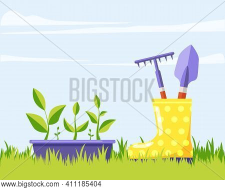 Garden Box With Green Flower Seedlings, Yellow Rubber Boot With Garden Tools Against Blue Sky. Summe