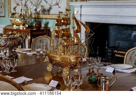 Inverary, Great Britain - September 12, 2014: This Is One Of The Items Of The Old Sumptuous Gilded D
