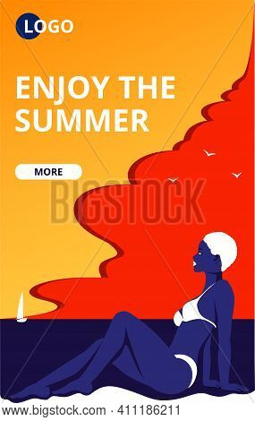 Enjoy The Summer Web Banner. Summertime Beach Vacation Poster With A Sunbathing Girl. Beautiful Woma