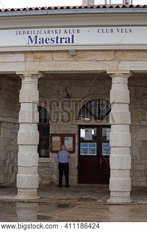 Rovinj, Croatia - October 15, 2014: Entrance To Sailing Club Mastreal Vela At Marina In Rovinj, Croa