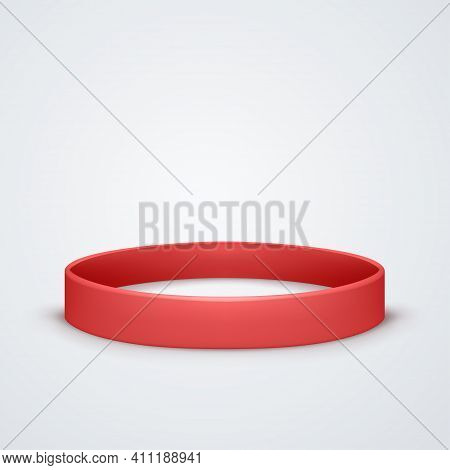Red Rubber Band Symbol On White Back