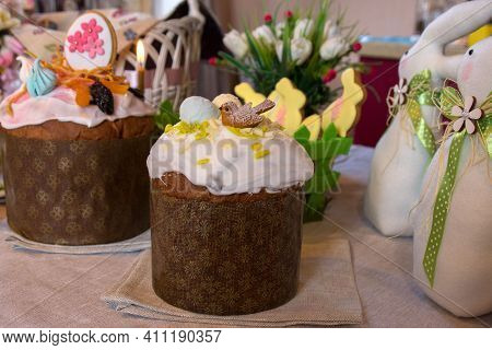 Traditional Ukrainian Easter Pastries Close-up. Light Holiday And Decor For Festive Pastries. Happy