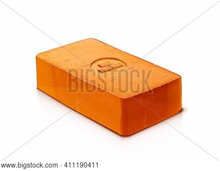 Red Ceramic Brick. Material For Building, Isolated On White Background. Eps10 Vector Illustration.