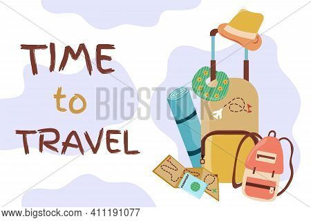 Time To Travel, Summer Vacation, Beach Rest. Set Of Travel Items For Recreation. Objects For Travell