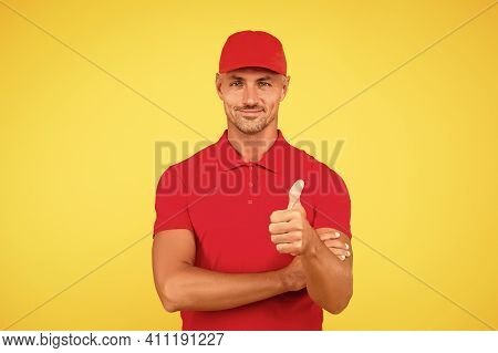 Super Cool. Happy Man Give Thumbs Up Yellow Background. Handsome Guy Smile Gesturing Thumbs Up. Gest