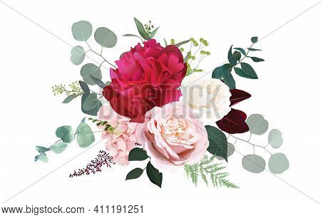 Burgundy Red Peony, Dusty Pink And Ivory Rose, Blush Hydrangea Flowers Vector Design Wedding Bouquet
