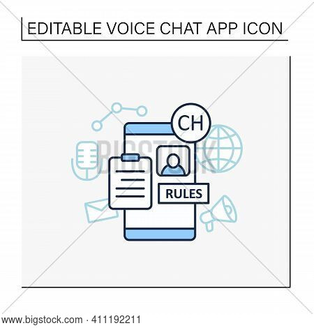 Application Rules Line Icon. Rules For Users. Main Application Regulation. Communication Concept. Is