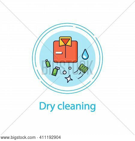 Dry Cleaning Concept Line Icon. Laundry Service. Ironing. Washer. Using Chemical Solvent With Water.