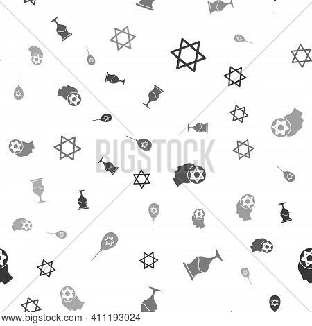 Set Star Of David, Jewish Goblet, Orthodox Jewish Hat And Balloon With Star David On Seamless Patter