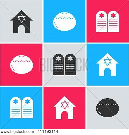 Set Jewish Synagogue, Sweet Bakery And Tombstone With Star Of David Icon. Vector