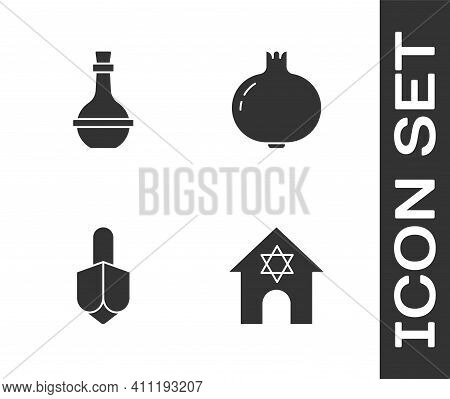 Set Jewish Synagogue, Wine Bottle, Hanukkah Dreidel And Pomegranate Icon. Vector