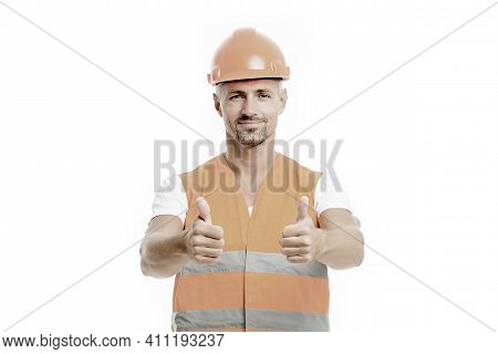 Good Job. Safety Is Main Point. Man Builder Wear Protective Hard Hat And Uniform White Background. W
