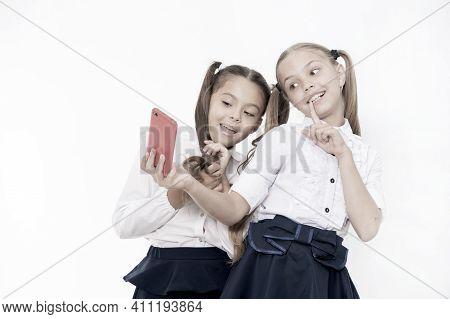 Girls School Uniform Take Selfie Smartphone. Posing To Take Perfect Photo. Girlish Leisure. Girls Ju