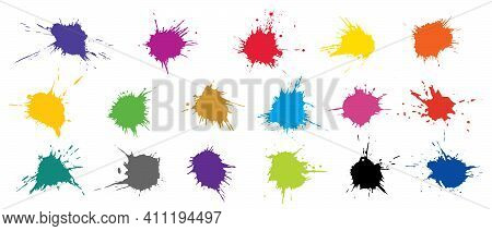 Set Of Colorful Grunge Blots, Splats. Paint Splash. Vector Illustration.