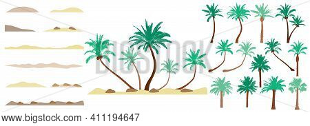 Design Element Of Palm Trees,  Constructor Collection. Beautiful Palm Trees, Sand, Stone. Creation O