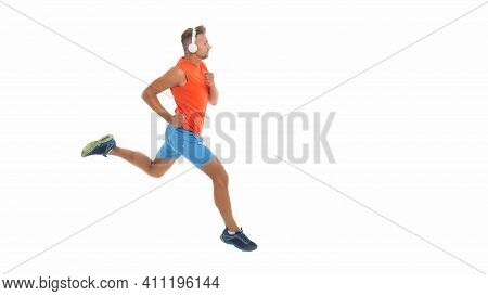 Feel The Rhythm. Motivational Song. Man Sportsman Running With Headphones. Runner Handsome Strong Gu