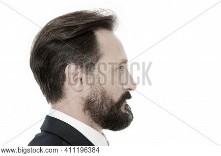 Perfect Style. Business Man Well Groomed Mature Guy Side View White Background. Business People Hair