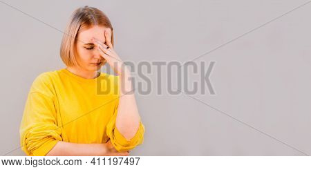 Oh God Why Me. Portrait Tired Exhausted Emotive European Blond Woman Facepalming Press Palm Face Clo