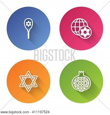 Set Line Balloon With Star Of David, World Globe And Israel, Star David And Pomegranate. Color Circl