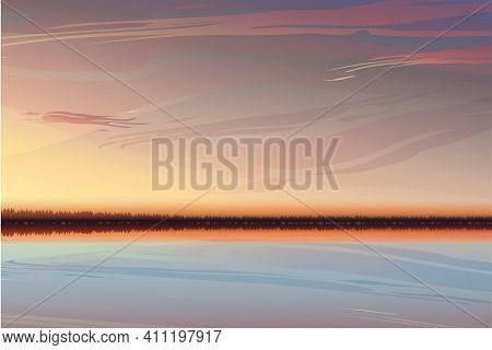 Beautiful Clean Sunset With Warm Yellow-pink Sky. A Realistic Sunset With Space For Text.