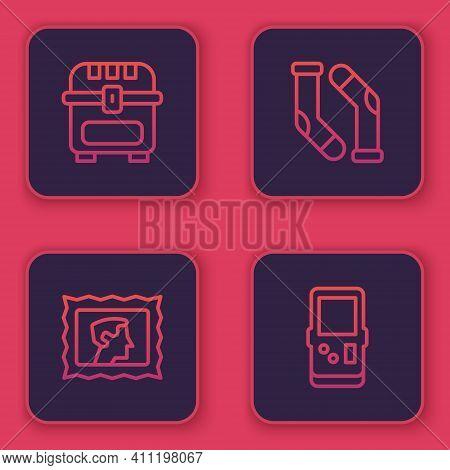 Set Line Antique Treasure Chest, Postal Stamp, Socks And Tetris. Blue Square Button. Vector