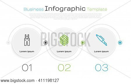 Set Line Pants With Suspenders, Rubik Cube And Fountain Nib. Business Infographic Template. Vector