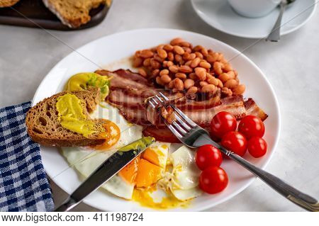 Started With A Hearty Breakfast Of Scrambled Eggs, Bacon, Beans, Cherry Tomatoes, Homemade Bread, Te