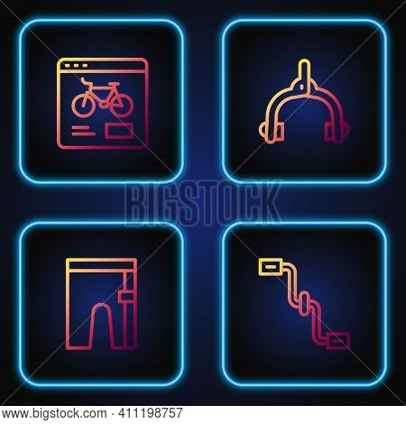 Set Line Bicycle Pedals, Cycling Shorts, Rental Mobile App And Brake Calipers. Gradient Color Icons.