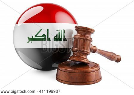 Iraqi Law And Justice Concept. Wooden Gavel With Flag Of Iraq. 3d Rendering Isolated On White Backgr