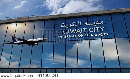 Airplane Landing At Kuwait City Airport Mirrored In Terminal