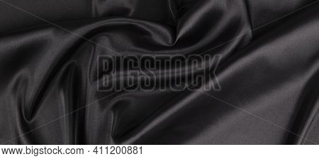 Beautiful Elegant Black Background With Drapery And Wavy Folds Of Silk Satin Material Texture. Top V