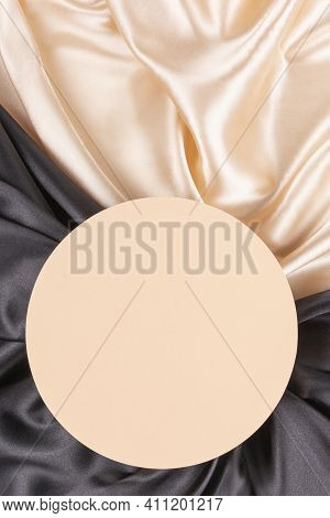 Circle Platform Podium On Elegant Black And Champagne Color Background With Drapery And Wavy Folds O