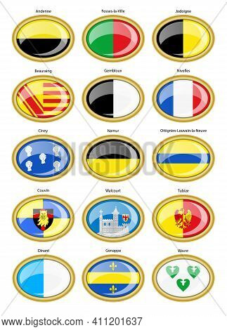 Set Of Vector Icons. Flags Of Cities, Belgium (namur And Walloon Brabant Provinces).