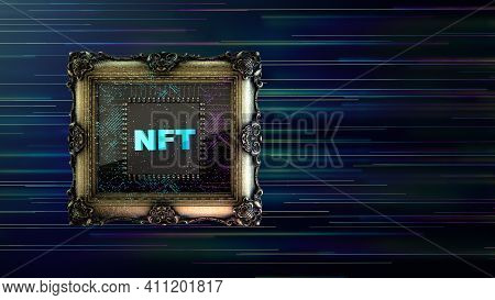 Nft Non Fungible Tokenscrypto Art On Colorful Abstract Background. Pay For Unique Collectibles In Ga